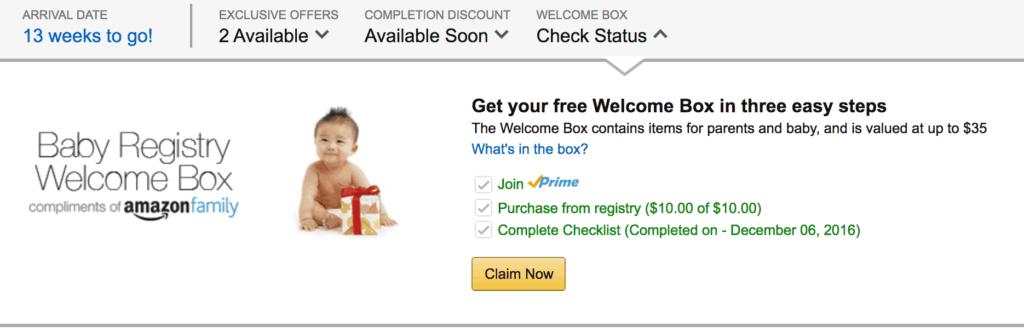 Obtenez la boîte de bienvenue du registre de bébé gratuit