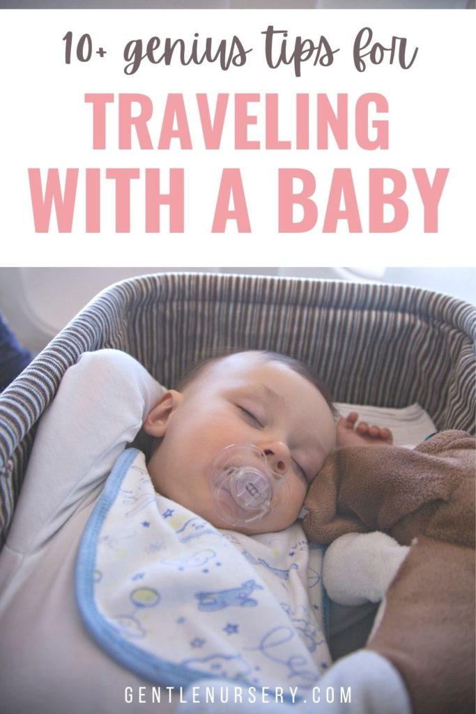 baby in bassinet on airplane
